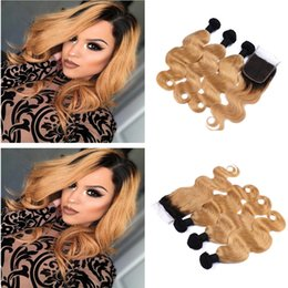 honey blonde ombre virgin hair 2019 - 100% Human Hair Extensions 2 Tone Ombre 1B 27 Honey Blonde Body Wave Malaysian Virgin Hair Weaves 3 Bundles With 4*4 Lac