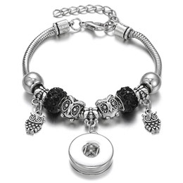 $enCountryForm.capitalKeyWord NZ - New Snap Bracelet Bangle Silver Lobster Buckle Snake Chain Bangles Vintage Owl Charms Beaded Bracelets Fit 18MM Snap Jewelry Noosa Bracelet