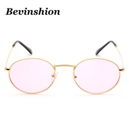 Discount sunglasses night lenses - New Arrival 2018 Oval Sunglasses Women Vintage Ocean Color Lens Transparent Pink Metal Frame Sun Glasses Men Night Visio