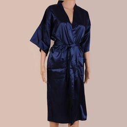 da356b41a1 Navy Blue Men s Kimono Robe Bathrobe Sleepwear Faux Silk Bath Gown  Nightgown Pyjamas Hombre Pijama Size S M L XL XXL XXXL 034