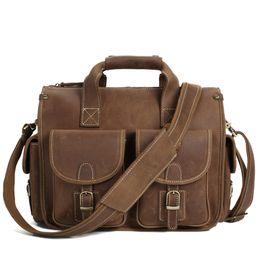 70749c7baa ROCKCOW Top Grade Mens Real Crazy Horse Leather Briefcase Vintage Style Messenger  Shoulder 13 inch Laptop Bag Case 7106