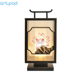 D Artpad Traditional Chinese Retro Style Desktop Bedside Lamp Cloth Shade  Plug In E27 LED Table Lamps For Study Living Room