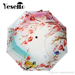 umbrella paintings Australia - Yesello Spring Peach Blossom Original Design Women's Oil Painting 3 Folding Umbrella