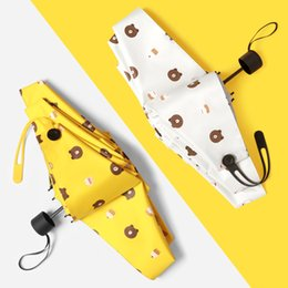 Nylon Coating Australia - Fashion Mini Pocket Umbrellas Sunscreen Black Coating Parasol Small Five Folding Umbrella Rain Women Brown Bear 210T Pongee