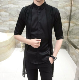 5be8a222374 New Hot Men s nightclub Metrosexual Clothing Man Slim Personality Lace Fake  two pieces Half sleeves shirts Male Hairstylist Tops