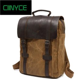 canvas horse backpacks UK - 2018 Waxed Canvas Water Proof Crazy Horse Cow Skin Vintage Original Men's Preppy School Back packs Travel Laptop Backpacks Bags C18111901