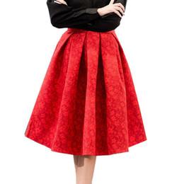53beff4f61 Autumn Retro High Waist Skirt Women Elegant Female Jacquard Mini Pleated  Skirts Knee-Length A-line Red Black 2018