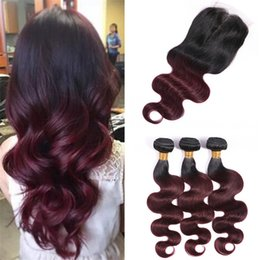 Dyeing Hair Black Australia - Black Roots Wine Red 99j Ombre Closure with Bundles 2 Tone 1B Burgundy Body Wave Wavy Ombre Human Hair Weaves with Lace Closure