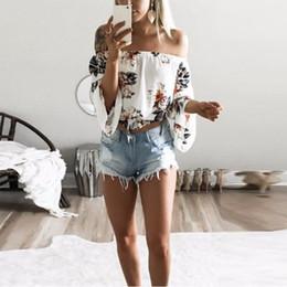 Off Shoulder Blouse Cotton Australia - 2019 Summer Beach Casual Print Floral Cotton Blouse Shirt Long Flare Sleeve Women Blouses White Backless Off Shoulder Shirts