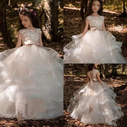 Images for lovely baby online shopping - New Coming Tiered Skirt Flower Girl Dress Beaded Lace Hollow Back Gown For wedding Custom Made Floor Length Bow Lovely Baby Dresses