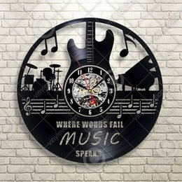 Musical Art Australia - Musical Instruments Guitar Drums Notes Band Vinyl wall clock Home Decor Handmade Art Personality Gift (Size: 12 inches, Color: Black)