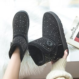Wholesale TESSFFEL sequins classic women s shoes thick flat boots women platform warm plush ankle boots new winter snow