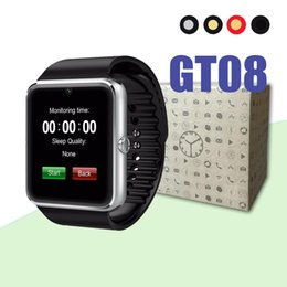 Iphone golden batterIes online shopping - Bluetooth Smart Watch GT08 With Touch Screen good Battery Support TF Sim Card Camera For IOS iPhone Android pk A1 DZ09 watch