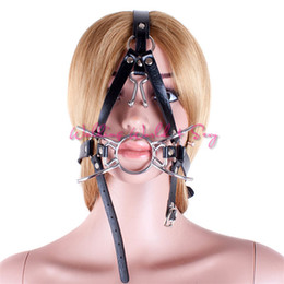 Ring Gagged Head Harness Australia - Spider X Style Open Mouth Gag Metal Oral Fixation Sex Ring Leather Head Harness Fetish Slave Mask Adult Game Sex Toys For Couple S924