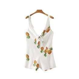 $enCountryForm.capitalKeyWord NZ - women elegant Pineapple print deep V neck playsuits sleeveless bow design back zipper rompers ladies cute jumpsuits