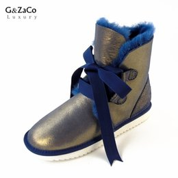 Wholesale G Zaco Luxury Sheepskin Snow Boots Women Genuine Leather Short Strap Sweet Ankle Boots Winter Wool Sheep Fur Boots