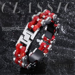 Mens Bicycles NZ - Mens Red Bicycle Chain Bracelets Jewellery Stainless Steel Wristband Cuff Bracelet For Men Link Charm Bangles Pulsera Homme