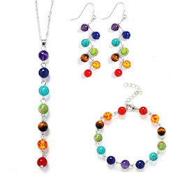 blue colour earrings 2019 - 7 Colour Natural Stone Beads Jewelry Sets 7 Reiki Chakra Healing Balance Beads Bracelet Earrings And Necklace Sets Men W