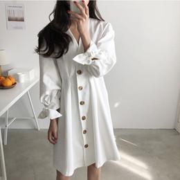 14a18f3f57f Single Breasted Button Vintage V Neck Tie Bow Sleeve Elegant Cotton Linen  Dress Summer Korean Women Robe Kawaii Sweet One Piece