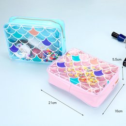 Discount transparent jelly case - Women Mermaid Cosmetic Transparent Bags fashion mermaid Makeup Case Zipper Jelly Sequins Bag new style travel outdoor to