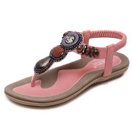 e596f71d049dc9 PLUS BIG SIZE 35-42 Bohemian Women Sandals Gemstone Beaded Slippers Summer  Beach Sandals Women Flip Flops Ladies Flat Sandals Shoes
