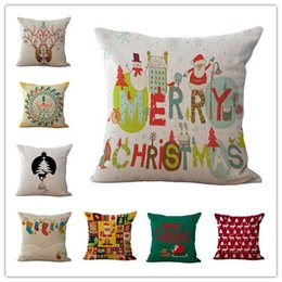 Discount christmas design case - Happy New Year Christmas Pillowcase 20 Designs Merry Christmas Sofa Decoration Pillow Cover Cushion Cover Car Waist Pill