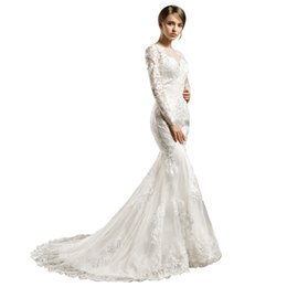 $enCountryForm.capitalKeyWord NZ - Long Sleeve Appliques Beaded Mermaid Wedding Dresses Illusion Sheer Neck Lace Style Fish Tail Bridal Wedding GownS DH322