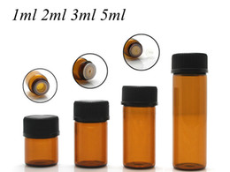 Glass Perfume Bottle High Quality NZ - High Quality 5ml Drams Amber Glass Bottle With Plastic Lid Insert Essential Oil Glass Vials Perfume Sample Test Bottle