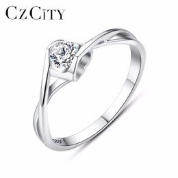 engagement ring finger for female 2019 - CZCITY Engagement Finger Ring for Women Luxury CZ with One Carat Zircon Female Classic Vintage 925 Silver Rings Jewelry