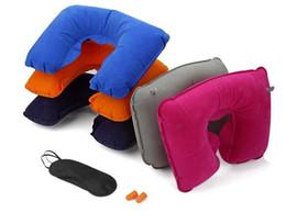 Novo 3 in1 Travel Office Set inflável em forma de U Almofada para o pescoço Air Cushion + Sleeping Eye Mask Eyeshade + Earplugs