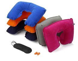 Nuevo 3 in1 Travel Office Set inflable en forma de U almohada para el cuello Air Cushion + Sleeping Eye Mask Eyeshade + tapones para los oídos