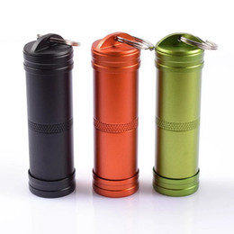 Pill box keychain online shopping - Camping Survival Waterproof Pills Box Container Aluminum Medicine Bottle Keychain Outdoor Emergency Gear EDC Travel Kits Tool