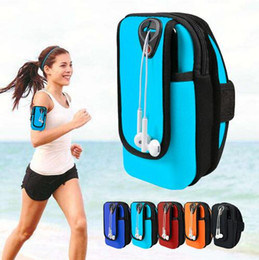 flip smartphone NZ - Sport Armband Running Flip Bag Case for iPhone Samsung Universal Smartphone Mobile Phone Earphone Holes Keys Arm Bags Pouch