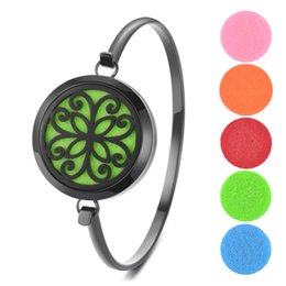 Sending Gifts Australia - 15 Styles Black Aromatherapy Diffuser Locket Magnetic Bangle 316L Stainless Steel Randomly Send 5pcs Oil Pads as Gift VA-958