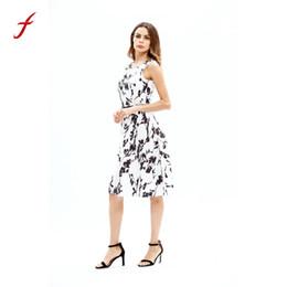 ce36cc939497 Pattern knee dresses casual online shopping - Lady s summer dress Fashion Women  Sleeveless Round Neck