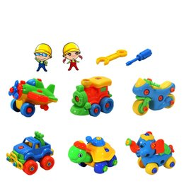 Small Child Toy Car UK - New DIY Disassembling Small Turtle Elephant Car Aircraft Train Motorcycle Puzzle Assembled Model Educational Toys for Children