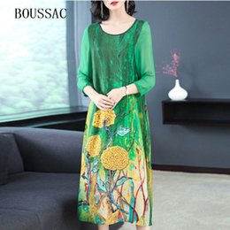 Discount chinese dress - Vintage Green Red Multicolor Floral Printed Ladies Dresses Three Quarter Sleeve Robe Vestidos Chinese Faux Silk Dress El