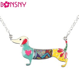 dachshund pendant 2019 -  Statement Metal Alloy Enamel Dachshund Dog Necklace Pendant Chain Collar Fashion Animal Jewelry For Women Girls Wholesa