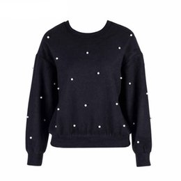 aeb0d80c4f9 Samuume Elegant Pearl Embellished Tops Jumper Autumn Winter Womens Pullover  O -Neck Collar Long Sleeve Warm Women Shirts