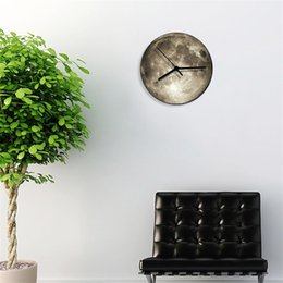 Antique round clock online shopping - Luminous Stereo D Wall Clock Removable Round Moon Fluorescent Quartz Colcks Glowing In The Dark Timepiece Top Quality sh Y