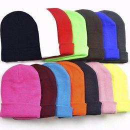 Neon Beanies Wholesale Australia - NIBESSERHat 22 colors neon knitted GD hip hop ski sport winter autumn cap hat