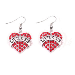 $enCountryForm.capitalKeyWord UK - Female Heart Earrings LITTLE SIS Written With Glittering Crystals Attractive Jewelry Gift For Sister Zinc Alloy Dropshipping