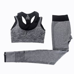 $enCountryForm.capitalKeyWord UK - 2 Pieces Women Yoga Sets Fitness Sports Bra Yoga Pants Leggings Set Gym Running Sport Suit Set Sportswear Active Fashion Sexy Outfits