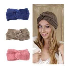 Wholesale New knit cross wool hair band earmuffs women hand woven headbands fashion warm autumn and winter hair accessories