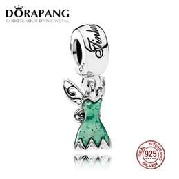 DORAPANG 100% 925 Sterling Silber Tinker Bell Kleid Baumeln Charme Glitzernde Grüne Emaille Anhänger Perlenarmband DIY