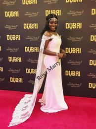 fashion girl model dress 2018 - Sexy Caped African Mermaid Evening Dresses 2018 Black Girls Off Shoulder Vintage Lace Plus Size Yousef Aljasmi Arabic Fo