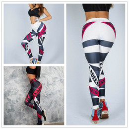 $enCountryForm.capitalKeyWord Australia - 10pcs DHL Yoga Pants Women Sexy Red Striped Letter Printing Gym Sport Leggings Tight Fitness Athletic Leggings Sportswear drop ship
