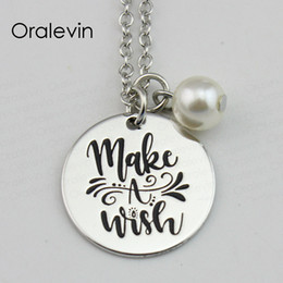 wish stamp Australia - MAKE A WISH Inspirational Hand Stamped Custom Charm Pendent Link Chain Necklace Nice Gift Jewelry,10Pcs Lot, #LN644