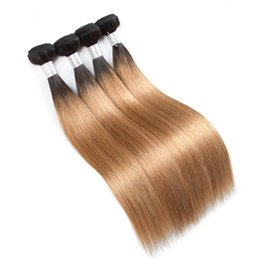 Chinese  2 Tone Ombre Peruvian Straight Hair Weave Bundles 1B 27 Non Remy Human Hair Extensions 3 Or 4 Bundles Human Hair Extensions Ombre Weaves manufacturers