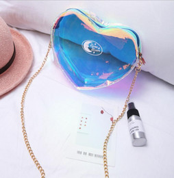 Cute Chain letters online shopping - Laser Crossbody Bags Women Cute Heart shaped Small Shoulder Bag Girl Messenger Summer Transparent chain bag KKA6239